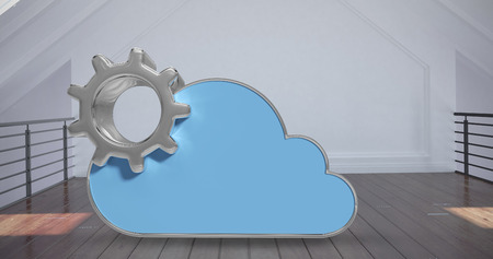 computing machine: Digitally generated image of gear by cloud shape against white room  3d