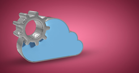 computing machine: Digitally generated image of gear by cloud shape against red vignette Stock Photo
