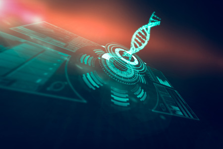 digitally generated image: Digitally generated image of illuminated volume knob with dna strand over black background 3d