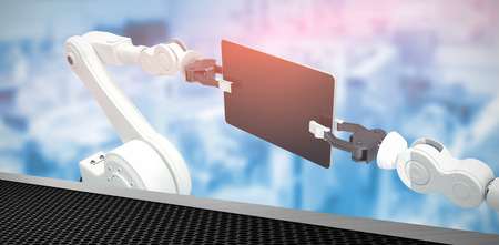 Digital generated image of robots holding computer tablet against black metal texture 3d Stock Photo