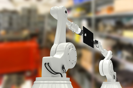 Composite image of robots with digital tablet against equipments on shelf in factory 3d Stock Photo