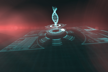 Composite image of illuminated volume knob with dna strand over black background 3d Stock Photo