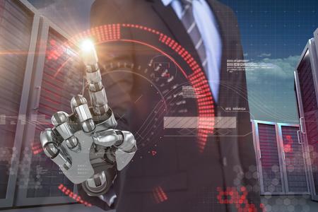 mano robotica: Imagen gráfica de negocios con la mano robótica contra la imagen digital generada de la línea roja 3d Foto de archivo
