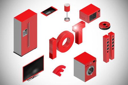 Digitally generated image of text and appliances icons against white background with vignette 3d
