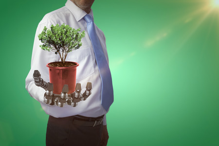 Potted plant on white background against green vignette 3d Stock Photo