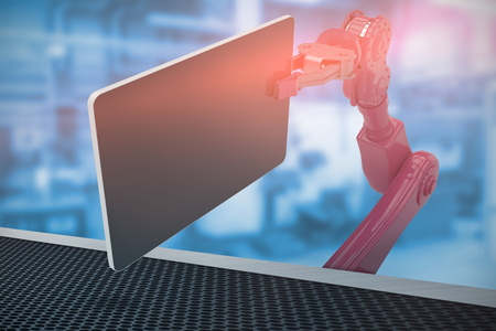 Composite image of red robot holding computer tablet against factory 3d Stock Photo