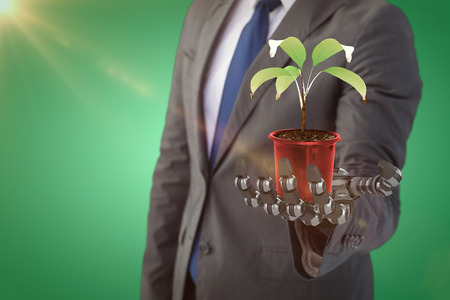 potted plant: Digitally generated image of potted plant against green vignette, 3d Stock Photo