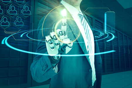 mano robotica: Composite of businessman with robotic hand against digital image of globe with social connectivity 3d