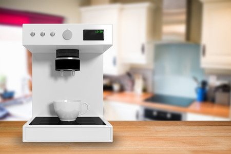stove top: Coffee maker in white against view of a kitchen 3d