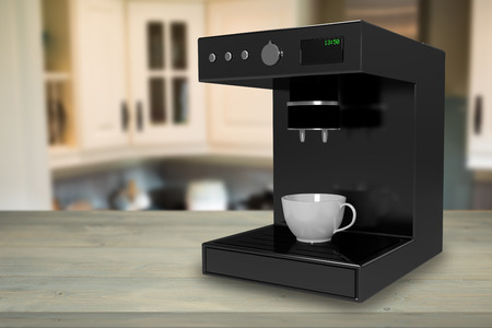 stove top: Coffee maker machine against view of kitchen 3d
