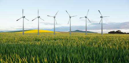 wheat field: Digital composite image of wind turbines  against green wheat field