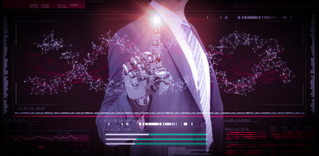mano robotica: Computer graphic image of businessman with robotic hand in full suit against helix diagram of dna 3d