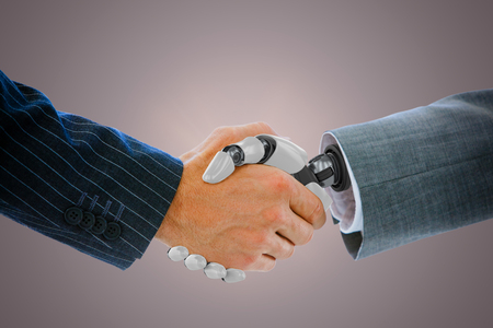 Cropped image of businessman dealing with robot against red vignette Stock Photo