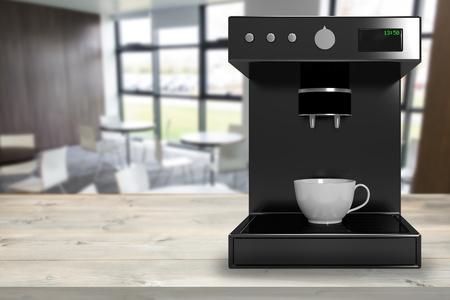 digitally generated image: Black coffee maker machine against digitally generated image of cafe 3d