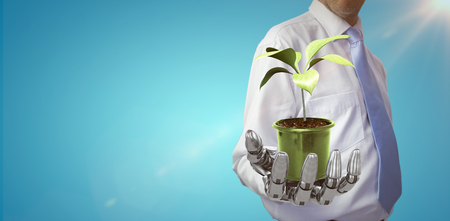 Digital composite image of potted plant against blue vignette background 3d Stock Photo