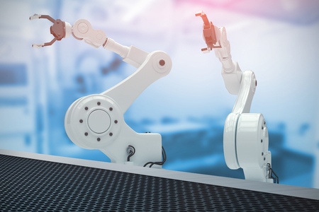 Digital image of robotic hand with claw against factory 3d