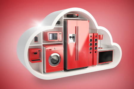 Red electrical appliance in cloud shape against red vignette 3d Stock Photo