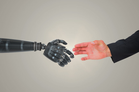 vignette: Hand presenting against yellow vignette
