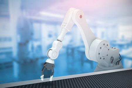 robotic: Robotic arm against workshop 3d Stock Photo