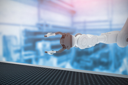 robotic: Robotic hand with metal claw against workshop 3d