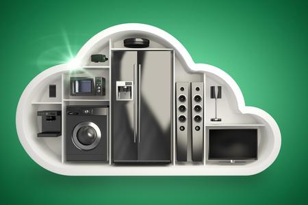 Black electrical appliance in cloud shape against green vignette 3d