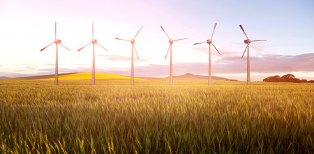 Digital composite image of wind turbines  against green wheat field 3d