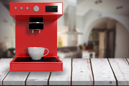domicile: Red coffee maker against kitchen in a stylish home 3d