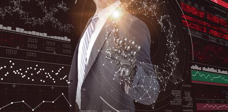 mano robotica: Ordenador la imagen gráfica del hombre de negocios con una mano robótica contra genes diagrama sobre fondo negro 3d Foto de archivo