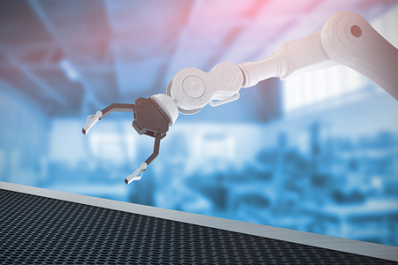 Digital image of metallic claw of robotic hand against workshop of carpentry 3d Stock Photo