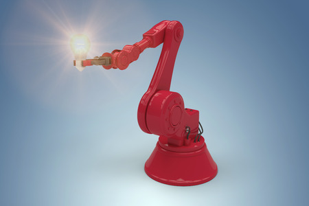 Digital composite image of red robotic arm holding light bulb against purple vignette 3d Stock Photo