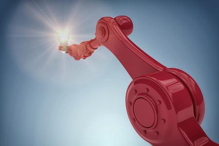 Graphic image of robotic hand holding filament against purple vignette 3d Stock Photo