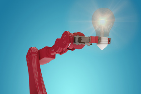 Digital composite image of red robotic arm holding filament against blue vignette background 3d Stock Photo