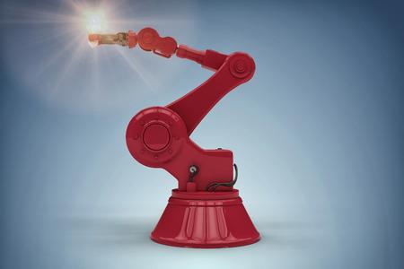 Digital generated image of robotic arm holding filament against purple vignette 3d Фото со стока