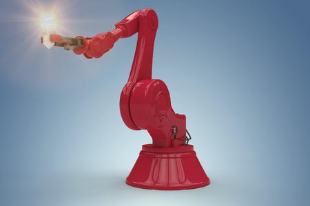 mano robotica: Illustrative image of robotic hand and light bulb against purple vignette 3d
