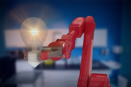 Composite image of robotic arm holding light bulb against counter arena 3d
