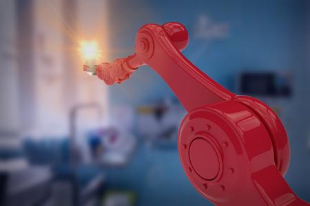 mano robotica: Imagen gráfica de robótica filamento de explotación de la mano contra el equipo médico en el examen de sala de 3d Foto de archivo