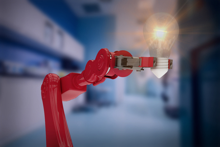 Digital composite image of red robotic arm holding filament against counter with corridor 3d Stock Photo