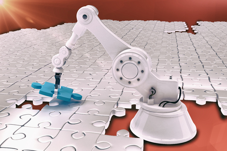 Vector image of robot setting up blue jigsaw puzzle 3d