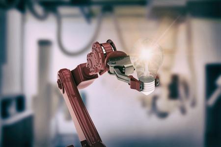 mano robotica: Imagen ilustrativa de la bombilla explotación de la mano robótica contra las máquinas en la sala de examen 3d