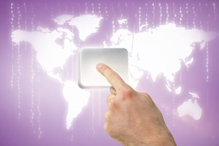 vignette: Hand pointing against purple vignette