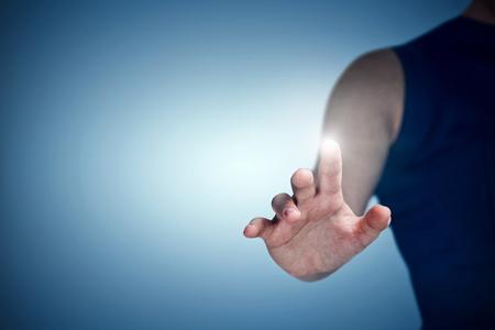 vignette: Midsection of woman gesturing against purple vignette Stock Photo