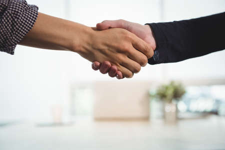 Business executives shaking hands with each other in office
