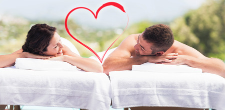 young couple relaxing on massage table
