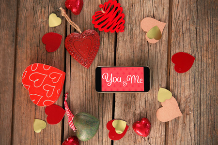 art and craft: Web against smartphone and heart art craft