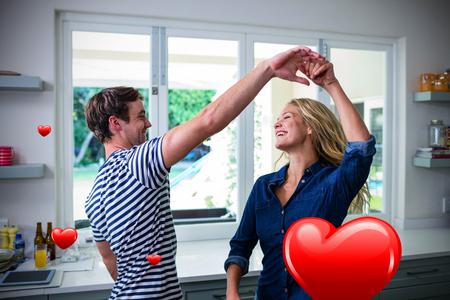 Hearts against cute couple dancing  3D