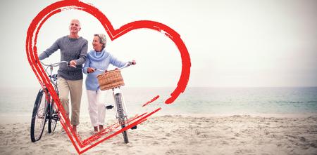 senior couple with their bicycles Stock Photo