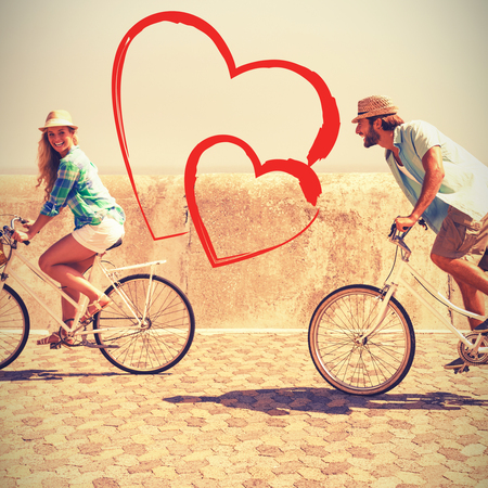 mode of transport: couple riding bicycles Stock Photo