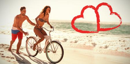 maillot de bain: Imprimer contre quelques équitation vélo à la plage