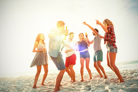 Friends dancing at beach on sunny day