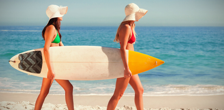 Women in bikinis holding surfboards on shore at beach